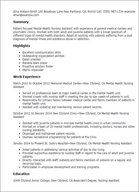 Behavioral Aide Sle Resume by Professional Mental Health Nursing Assistant Templates To Showcase Your Talent Myperfectresume
