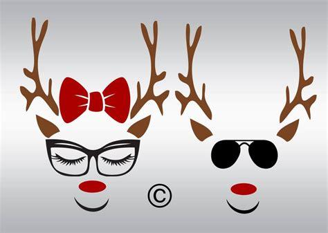 reindeer svg christmas svg rudolph svg reindeer face svg etsy