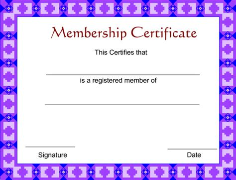 Free Membership Card Template by Membership Certificate Template 23 Free Word Pdf