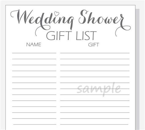 Free Bridal Shower Gift List Template   Gift Ftempo