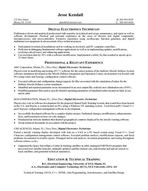 resume objective exles technician electronic technician resume objective resume ideas