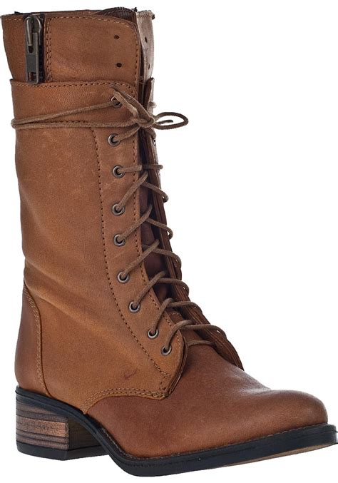 lace up boot lyst steve madden battell lace up boot cognac leather in