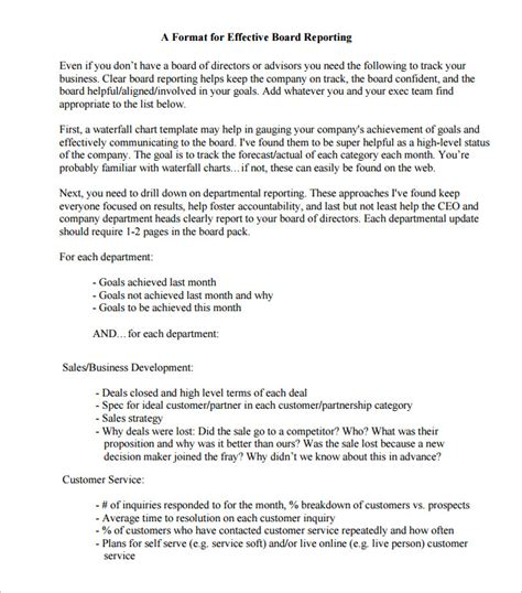 report to board of directors template 14 board report templates free sle exle format