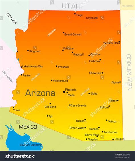 usa map arizona vector color map arizona state usa stock vector 25832440