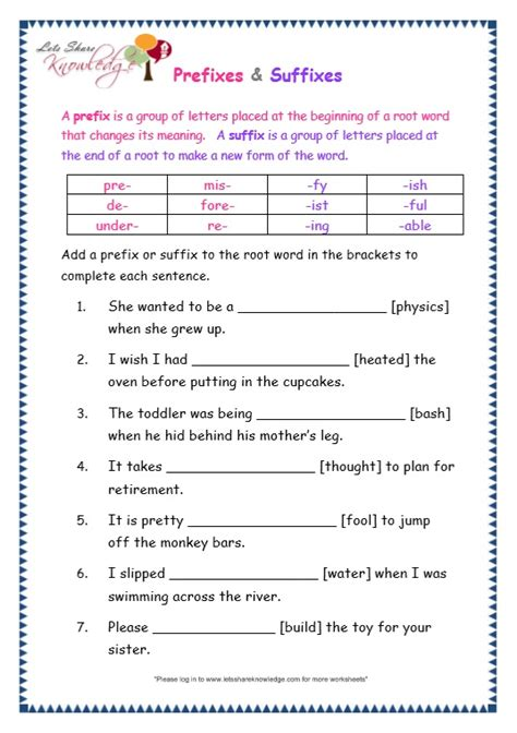 grade 3 grammar topic 21 prefix and suffix worksheets