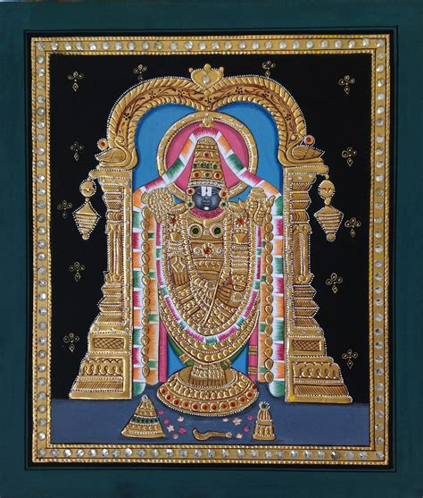 Handmade Painting - tanjore venkateswara handmade indian hindu deity