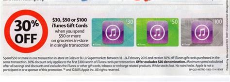Bilo Gift Cards - 30 off 30 50 100 itunes cards when you spend 50 on groceries at coles and bi lo