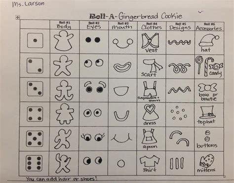 printable gingerbread dice game 17 best images about roll a dice drawing games on