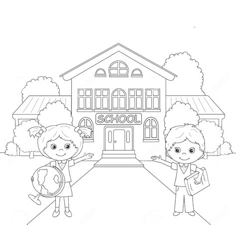 coloring page school school building colouring pages for kids www pixshark