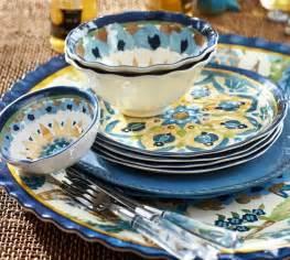cabo melamine dinnerware set of 4 blue pottery barn