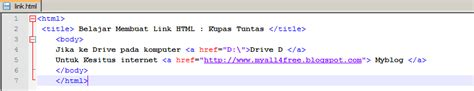 membuat link html a href my all4free cara membuat link pada html