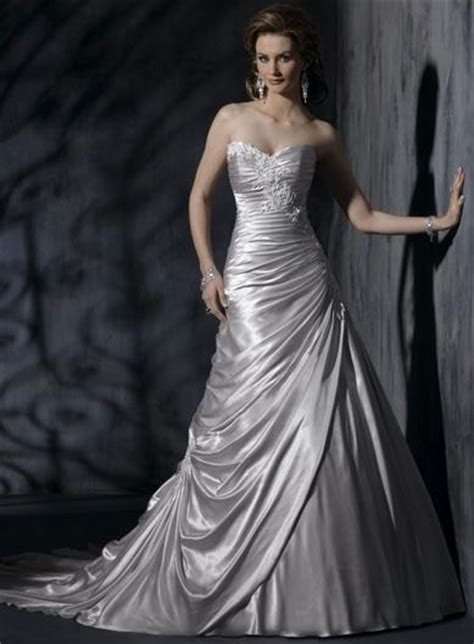 Silver Wedding Dresses by A Wedding Addict Silver Wedding Dress With Soft Sweetheart