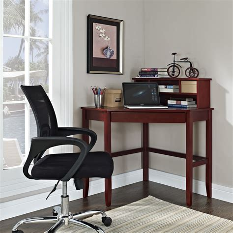 Small Corner Writing Desk Corner Laptop Writing Desk With Optional Hutch Cherry Desks At Hayneedle