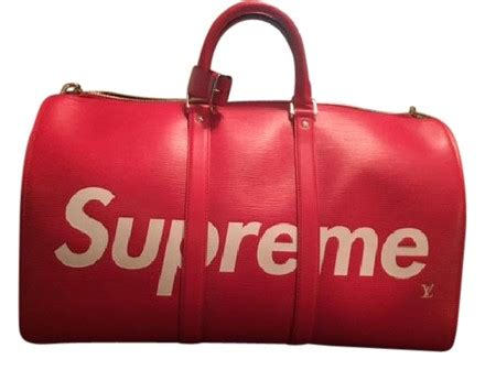 Tas Bag Ransel Lv Semprem louis vuitton x supreme leather bandouliere 45 weekend travel bag tradesy