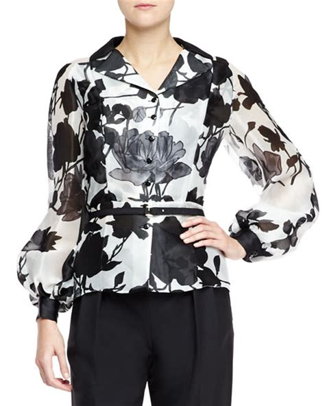 Carolina Blouse carolina herrera silk sleeve floral blouse black white