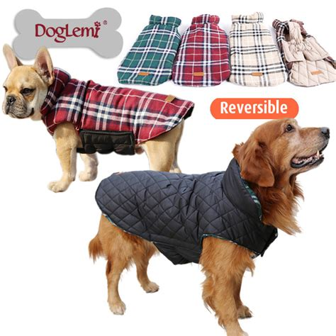 design dog jacket waterproof reversible dog jacket designer warm plaid