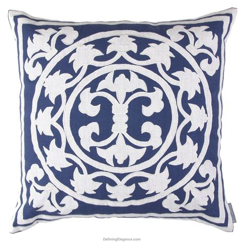 Navy White Pillow by Lili Alessandra Navy Linen With White Pillows Throw