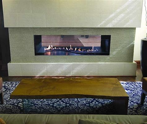 Vent Free See Through Fireplace by Boulevard Curved Burner See Through Vent Free Linear