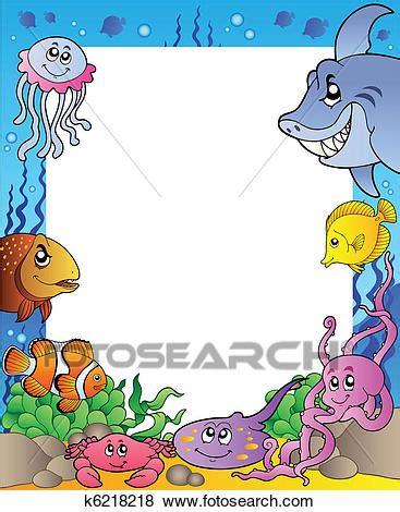 pesci clipart cornice con mare pesci 1 clip k6218218 fotosearch