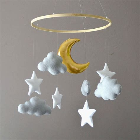 Handmade Baby Mobiles Australia - felt mobile with clouds moon milbot chooky