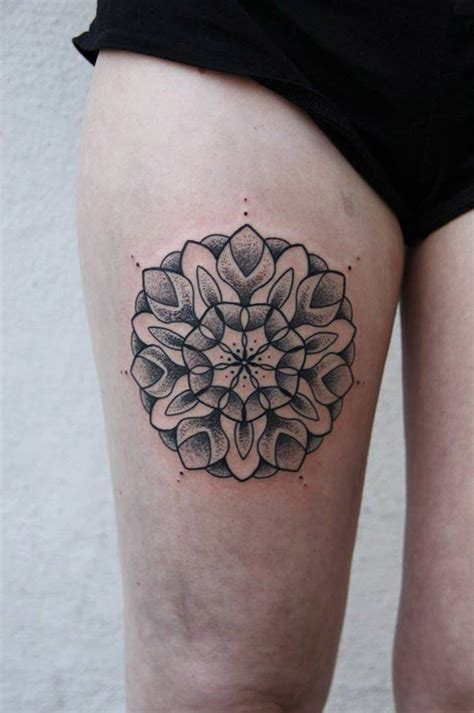 pretty leg tattoos pretty mandala on thigh