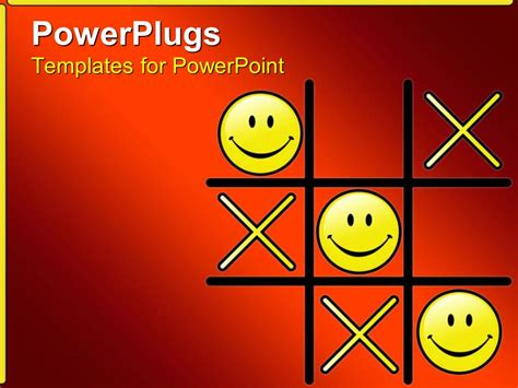 Powerpoint Template Tic Tac Toe Game With Winning Smiley Face Os 13317 Tic Tac Toe Template Powerpoint
