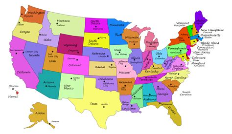 usa map with states and their capitals united states map with capitals map3
