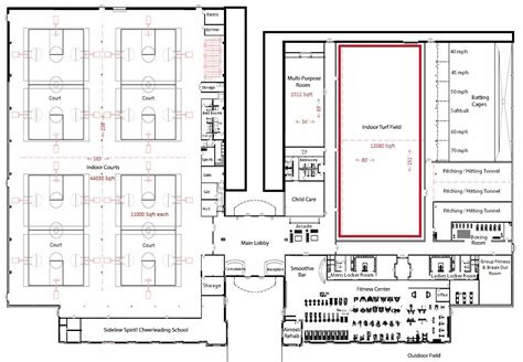 facility floor plan indoor turf