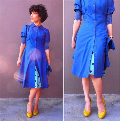 nichanan thunduan navy blue dress polka dot skirt navy