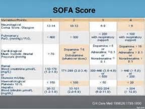 sofa score icu scoring systems