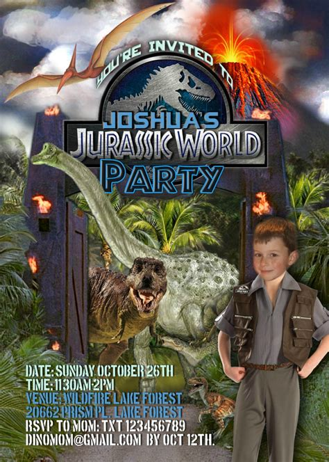 printable jurassic world birthday invitations jurassic world dinosaur printable party invitation with