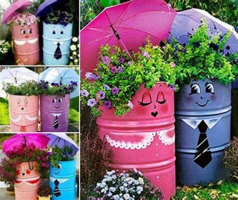 DIY Upcycled Drum Planters Pictures, Photos, and Images