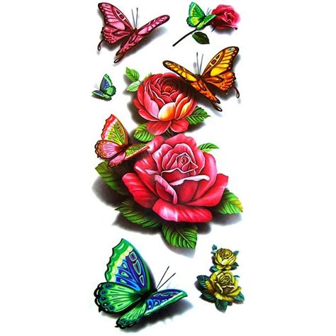 tatouage rose tatouage papillon tatouage ephemere rose