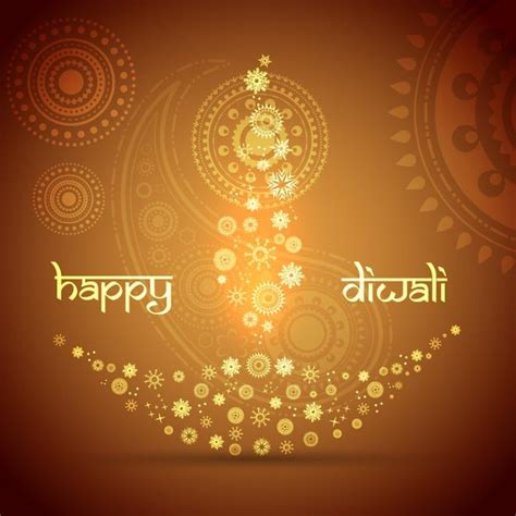 diwali greeting card template free vector floral pattern diya design happy diwali