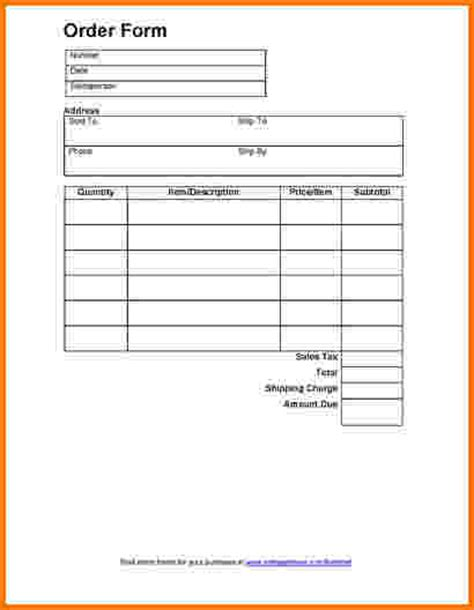 food order receipt template 7 food order form template word financial statement form