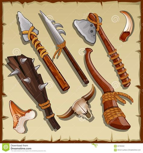 Big Set Of 7 equipment of a big set of ancient weapons stock