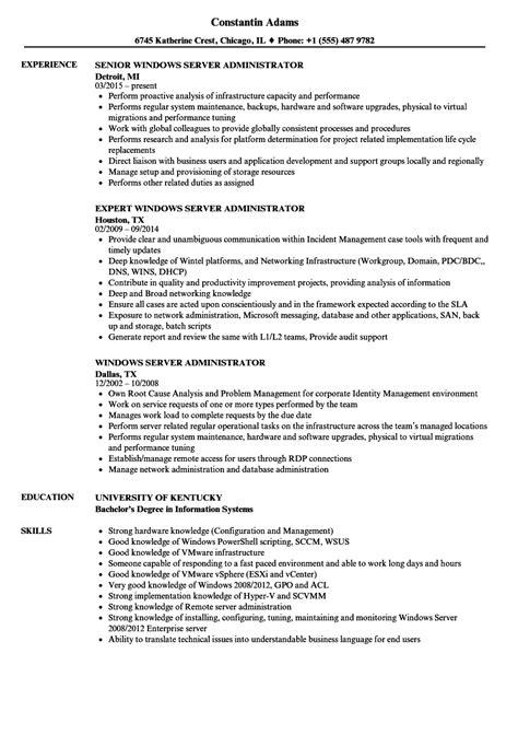 server administrator resume format windows server administrator resume sle teaching sle