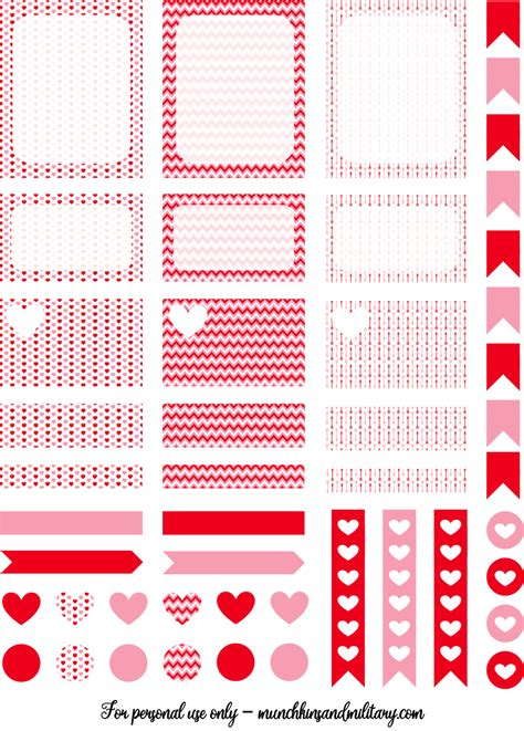 free printable valentines planner stickers february printable life planner stickers munchkins and