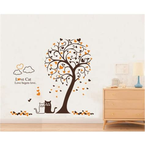 Heart Tree Love Cat Wall Decals Vinyl Wall Art Wall Decals For Nursery Canada