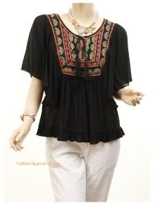 Frill Batwing Blouse Size S M L boho renaissance embroidered batwing tassel ruffle peasant blouse top blk