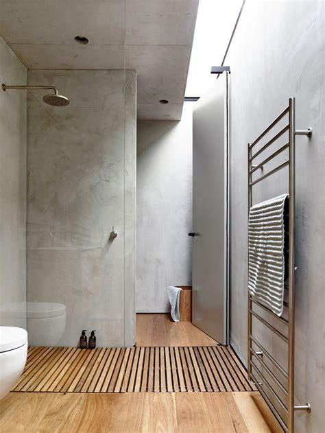boden stehende weinregale beton und holz im bad interior inspiration