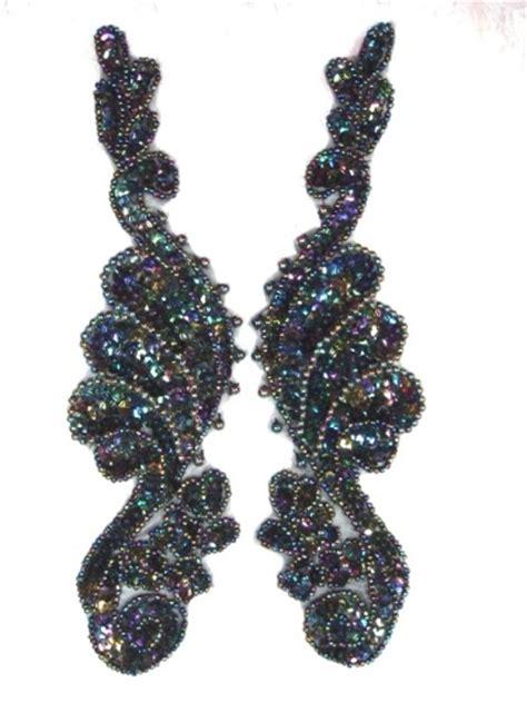 sequin beaded applique mirror pair black ab