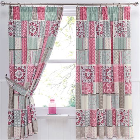 Pink Patchwork Curtains - pink patchwork pencil pleat curtains dreams drapes