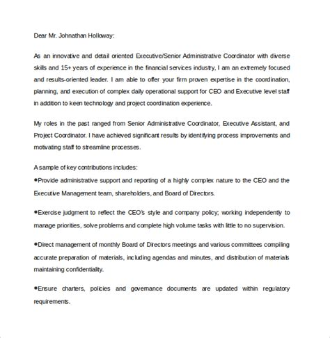 Executive Cover Letter Template Word Executive Assistant Cover Letter 9 Free