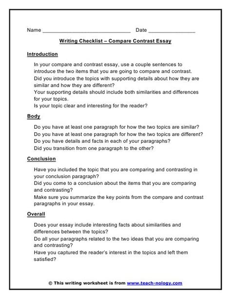 Compare And Contrast Essay Exles High School by 1000 Images About Compare And Contrast Essay Graphic Organizer On Contrast Words