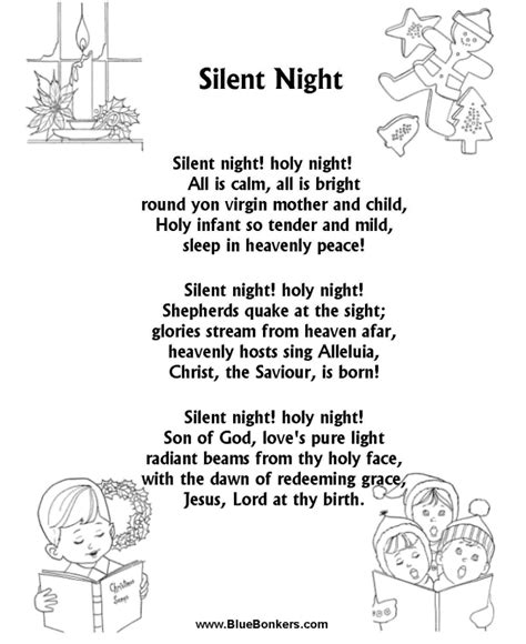 printable lyrics to silent night printable letters to colour christmas new calendar