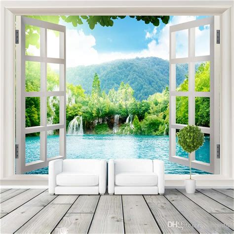 cool wallpaper for home uk window 3d waterfalls forest view wall stickers art mural