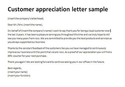 business appreciation letter to customer customer appreciation letter sle thank you client letter