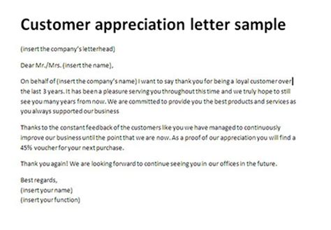 appreciation letter from customer customer appreciation letter sle thank you client letter