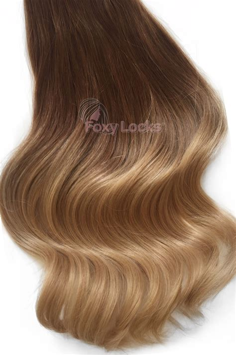 foxy clip in hair extensions honey spice ombre deluxe 20 quot clip in human hair